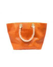Lg. Leather Handbag - Orange