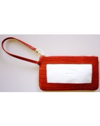Wrist Cosmetic Bag Alligator Red