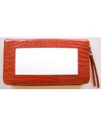Zip Top Wallet Alligator Red
